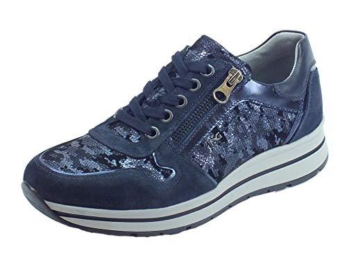 Sneakers NeroGiardini per Donna camoscio Blu e Pelle Satinata Blu con Lacci  e Lampo (Taglia b4051790474