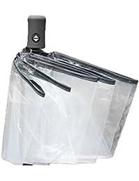 Paraguas automático tres plegables paraguas a prueba de viento claro Hombres mujeres 8 costilla a prueba