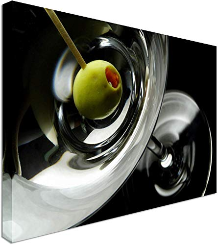 Yilooom Olive On A Martini Glass | Canvas Art Wall Print, Classic Style Canvas Prints, Premium Wooden Frames - 28 x20 Inches