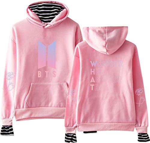 Socluer Damen BTS What Kapuzen Pullover Love Youself Streifen Rundhals Cool Lässig Hoodie Pulli Langarmshirt mit Tasche