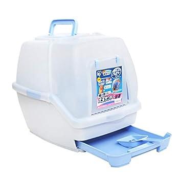 Wcx Toilette pour Animaux de Compagnie Plateau pour litière pour Chatons Filtre pour Chatons Poignée de Transport Box Ultra Dôme autonettoyant pour extérieur (Couleur : Bleu)