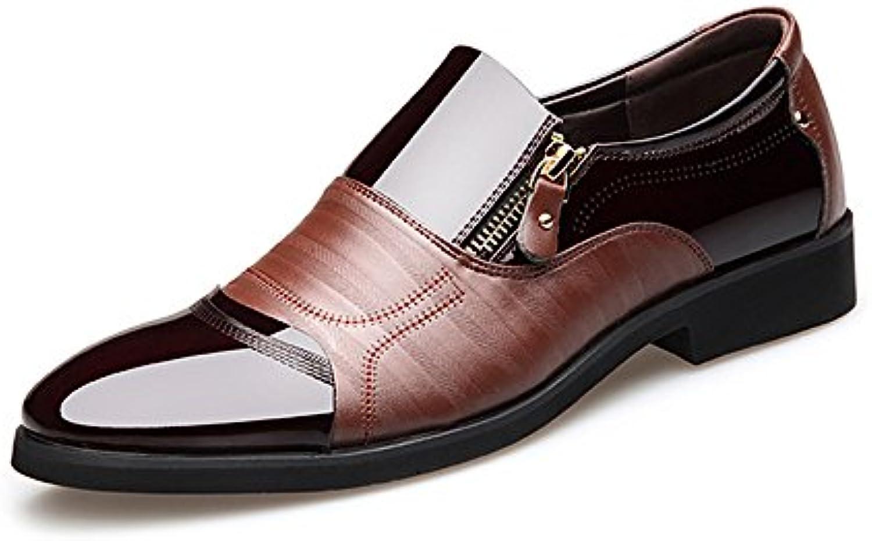 XHD-Scarpe Scarpe da Uomo Uomo Uomo d'Affari di Moda Smooth PU Leather Splice Zipper Deco | Vogue  f82899