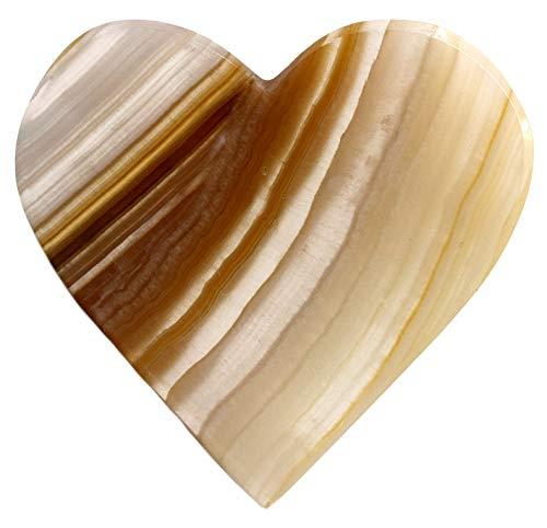 HBAR - Figura de corazón de ónix de ámbar Delicado, 7,62 cm de Largo, 7,62 cm de Ancho, 0,63 cm de Alto (0,3 LB) – Tallado de la Real Onyx Aragonita de América del Norte – La Serie Artesana Mined