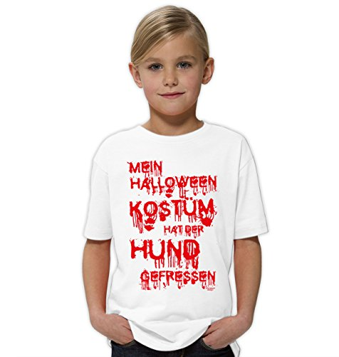 Mein Halloween Kostüm hat der Hund gefressen ::: Lustiges Kinder-Fun-T-Shirt Mädchen Teenager Party-Outfit-Bekleidung tolles Geschenk Farbe: weiss Gr: (Für Kostüme Top Halloween Jugendliche)