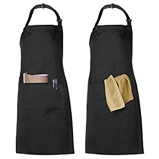 FANSIR 2 Packs Apron, Adjustable Bib Apron with 2 Pockets 100% Cotton Cooking Kitchen Chef Aprons for Men Women Home Restaurant Craft Garden BBQ Coffee House