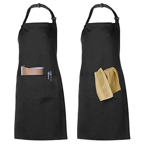 2 Pack Schürze Kochschürze Küchenschürze Latzschürze Verstellbarem Nackenband 100% Baumwolle für Frauen Männer Chef (Schwarz) -
