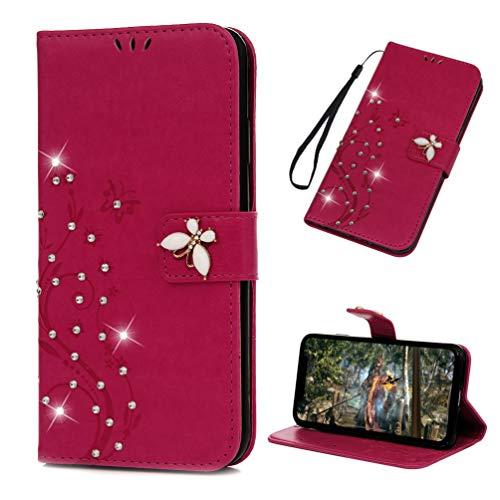 Edauto für iPhone XR Hülle Flip Case HandyHülle 3D Crystal Diamant Schmetterling Leder Schutzhülle Handycover Bookstyle Brieftasche Ständer Kartenfächer Magnetverschluss Tasche Rose rot