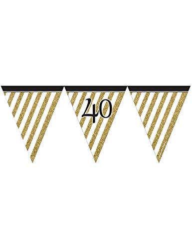 Generique - Wimpel-Girlande - schwarz Gold - Zahl 40 (Und Dekorationen Weiß Party 40th Birthday Schwarz)