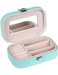 TRIXES Joyero pequeño portátil rosa imitación de piel caja estuche para viaje