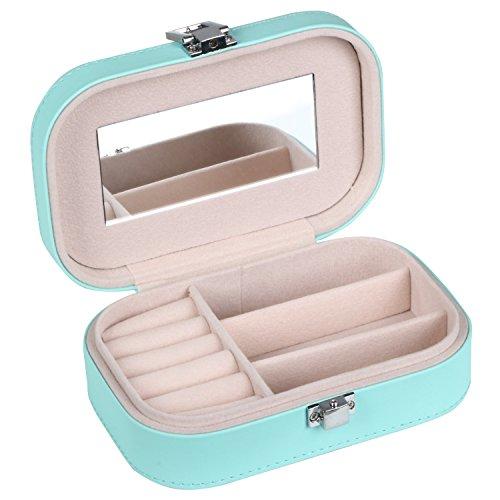 TRIXES-Joyero-pequeo-porttil-rosa-imitacin-de-piel-caja-estuche-para-viaje