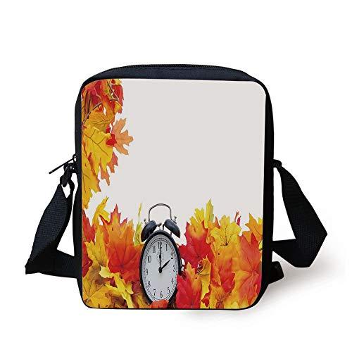 Clock Decor,Autumn Leaves and an Alarm Clock Fall Season Theme Romantic Digital Print,White and Orange Print Kids Crossbody Messenger Bag Purse (Ipad-coach Fall)