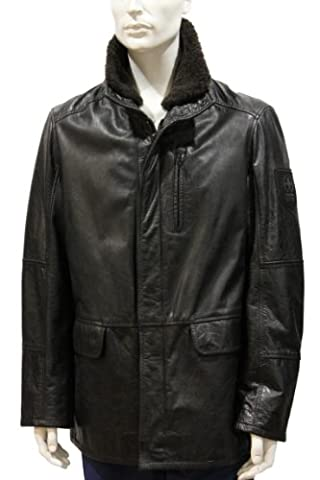 Strellson Herren Lederjacke Swiss Cross leather jacket SPW Funky Calf 54 schwarz