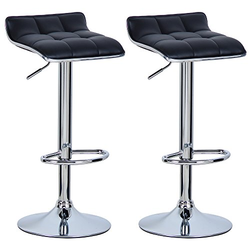 Woltu bh28sz-2 sgabelli da bar moderni sedia cucina alta senza schienale braccioli in similpelle regolabile girevole nero 2 pezzi