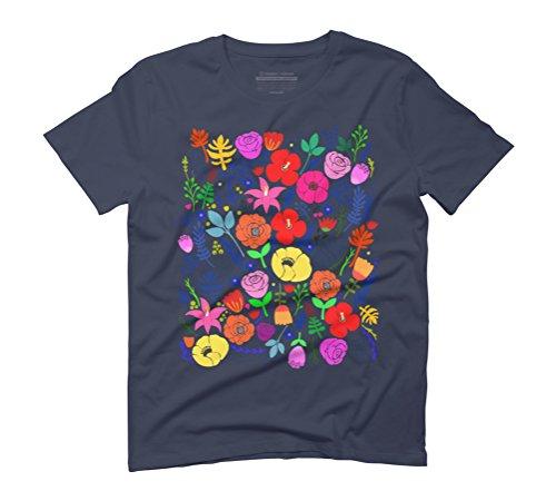 Secret Flower Garden Men's Graphic T-Shirt - Design By Humans Navy