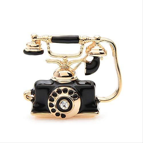 XGXZ Gioielli Spilla per Telefono Retro Smalto Marrone Nero Spille Donna Uomo Matrimonio Costumi per Banchetti Accessori Bouquet GioielliNero