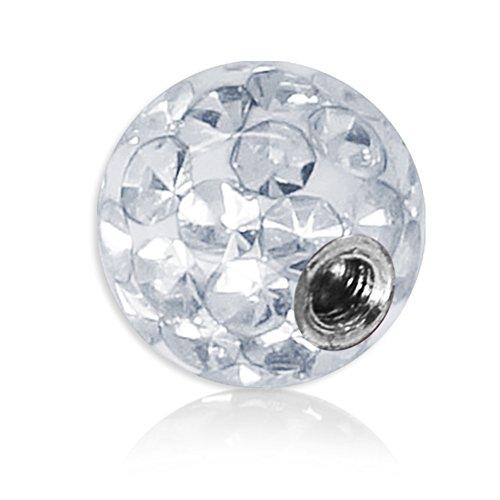 Soul-Cats® Piercing Kugel Kristall Gel Epoxy Ferido viele Größen, Farbe: weiß; Gewinde: 1,6 mm; Kugelgröße: 4 mm