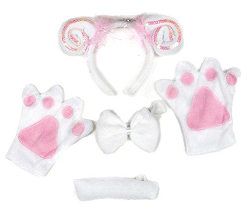 petitebelle Pink Schaf Stirnband Schleife Schwanz Handschuhe 4Kostüm Party für Erwachsene Gr. Einheitsgröße, weiß