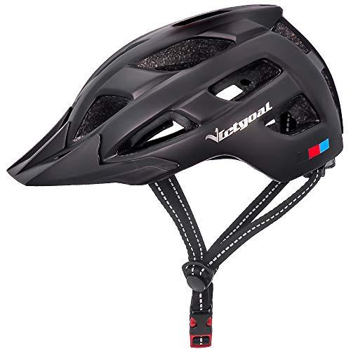 Victgoal Fahrradhelm Herren Damen mit abnehmbaren Visier Insektennetz gepolsterte Fahrradhelm Leichte Fahrradhelme Mountainbike Helm 57-61 cm (Black)