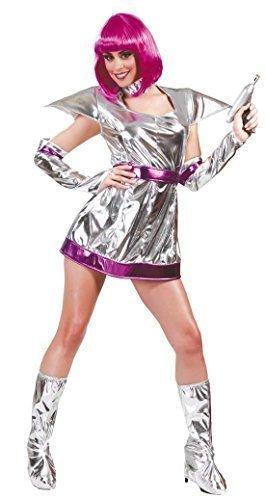 Damen Sexy Silber Fach Kadett Astronaut Kostüm Kleid Outfit UK (Uk Astronaut Kostüm)