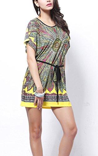 Bigood Robe Grande Taille Femme Chemise T-shirt Manche Chauve-souris Col Rond Imprimé Eté Jaune