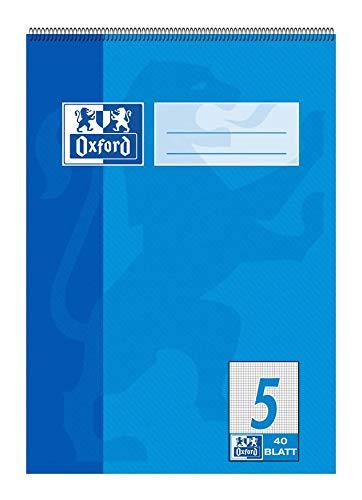 OXFORD 100050388 Schulblock Schule 10er Pack A5 Lineatur 5 - kariert 40 Blatt Kopfspirale Notizblock Schreibblock Papierblock - Oxford Set