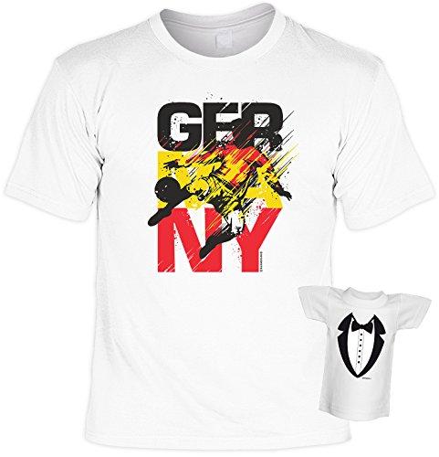 Fussball-Spaß-Shirt inkl. Mini-Shirt/Flaschendeko/Geschenk-Set: GERMANY - Sprüche-Shirt inkl. Flaschendeko Weiß