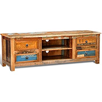 VidaXL Antik TV Hifi Rack Lowboard Sideboard Fernsehtisch Vintage Holz Teak  Retro 4