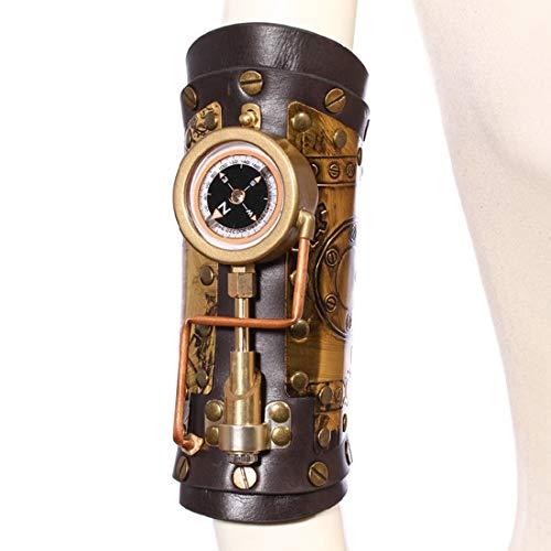 UICICI Leder Armbänder mit Kompass handgefertigte Cosplay Harness Armband Arm Strap Gothic Steampunk einstellbar Zubehör Decor Club Wear - Männer Versuchen Frauen Kostüm