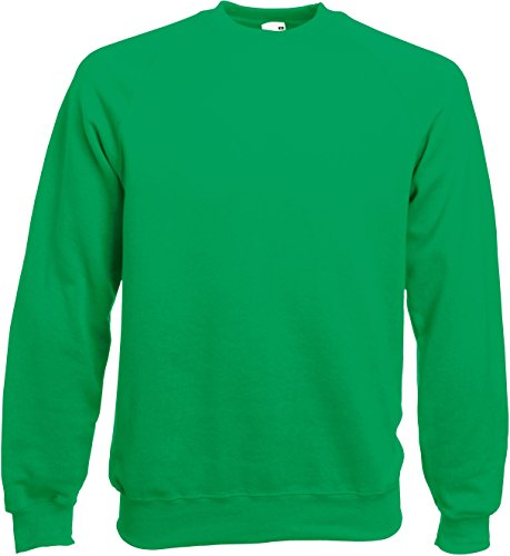 Fruit of the Loom Raglan Sweatshirt L,Kelly Green (Kelly Green)