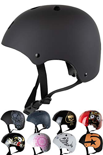 Skullcap® Casco BMX - Casco Skate - Casco Bici, Casco Niños, Negro, Talla S, Dark World