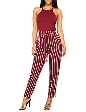 ShallGood Mujer Pantalones Clásicos Rayas Pantalones Verano Cintura Alta Casual Moda Pantalones De Halón Rayados...