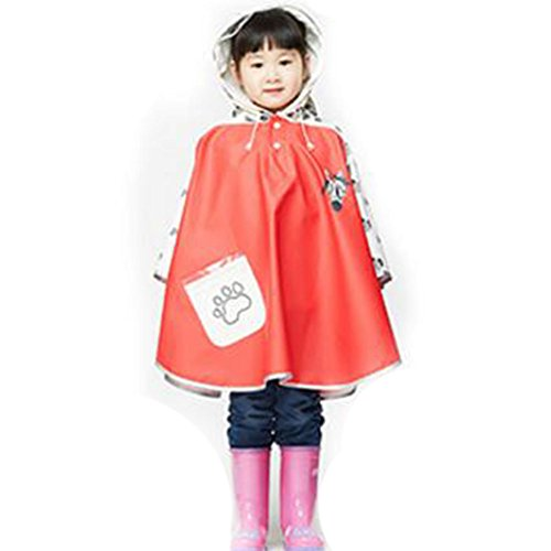 Highdas Cartoon Children Kids Reflective Tape on Hat Hiking Poncho Baby Kids Waterproof Cloak PU