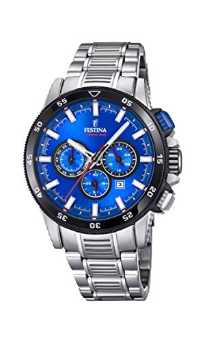 Festina Herren Chronograph Quarz Smart Watch Armbanduhr mit Edelstahl Armband F20352/2 - Festina Uhren