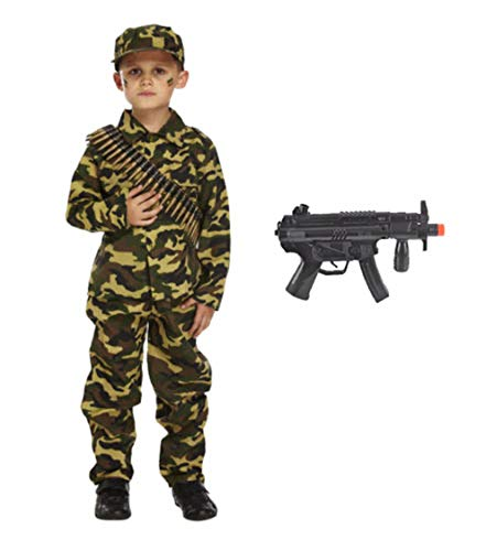 Kostüm Armee Boy - Forever Young Boys Kinder Armee Soldat Kostüm Halloween Outfit mit Gewehr 5-6 Jahre