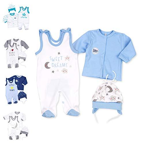 Baby Sweets Baby Set Strampler + Shirt + Mütze Jungen weiß hellblau | Motiv: Sweet Dreams | Babyset 3 Teile für Neugeborene & Kleinkinder | Größe: 9 Monate (74)