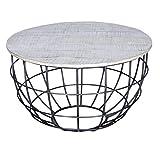 casamia Couchtisch Wohnzimmer-Tisch rund Lexington ø 80 cm, Metall-Gestell Altsilber oder schwarz Farbe weiß gekälkt