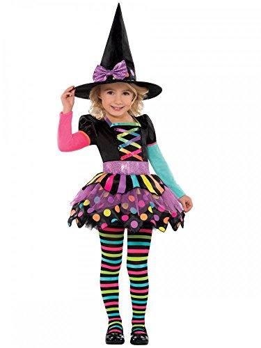 Kinderkostüm Kleine Hexe Kunterbunt für Mädchen inklusive Hut und Strumpfhose Hexenkostüm, Kindergröße:104 - 3 bis 4 - Kleines Mädchen Hexe Kostüm