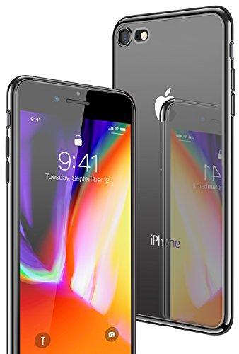 iPhone 8 Hülle, iPhone 7 Hülle, CASEKOO Silikon Dünn Case Transparent Weich Durchsichtig Leicht Cover Ultra Slim TPU Schlank Bumper Handyhülle Soft Kratzfest Schutzhülle für iPhone 8 und iPhone 7[Unterstützt Kabelloses Laden(Qi)]-Schwarz