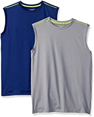 Amazon Essentials Boys' 2-Pack Active Muscle Tank Niños, Pack