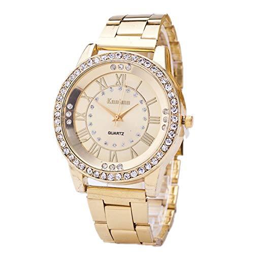 Homeofying Frauen römischen Ziffern Strass Index Alloy Band rundes Zifferblatt Quarz-Armbanduhr für Frauen Männer Golden -