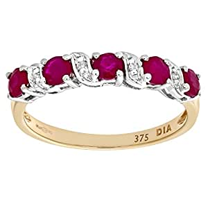 Naava 9 ct Yellow Gold Ruby and Diamond Eternity Ring