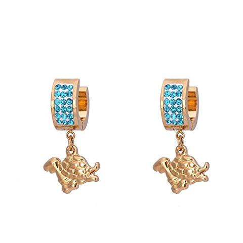 X & Y angel-fashion Jewelry Schildkröte Creolen Edelstahl baumeln Ohrringe mit blauen Kristallen