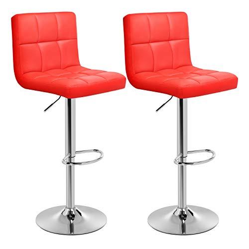 er Set, höhenverstellbare Barstühle, Barstuhl aus Kunstleder, 360° Drehstuhl, Küchenstühle mit Rückenlehne & Fußstütze, Lobby, Tresen, verchromter Stahl, rot LJB64RD ()