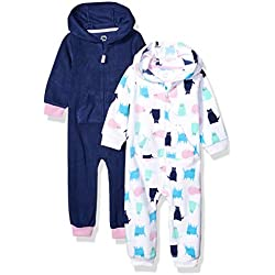 Amazon Essentials 2-Pack Microfleece Hooded Coverall Fashion-Hoodies, Gato, 12 Meses