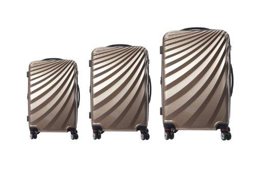 Viviana Trolley Polycarbonat Kofferset TSA Doppelrollen - Farben und Größenvielfalt (XL, Champagne)