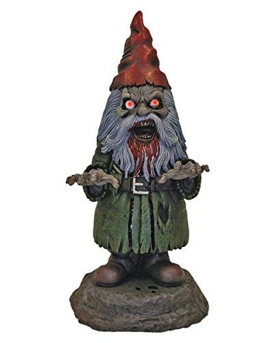 Zombie Gartenzwerg mit leuchtenden LED Augen als gruselige Halloween (Gartenzwerg Zombie)