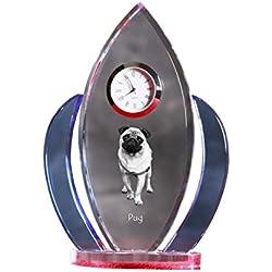 , Reloj de cristal, forma de alas con la imagen de un perro pug