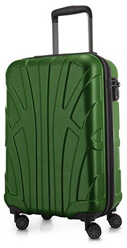 SUITLINE - Handgepäck Hartschalen-Koffer Koffer Trolley Rollkoffer Reisekoffer, TSA, 55 cm, 34 Liter, Grün