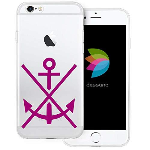 dessana Maritim transparente Schutzhülle Handy Case Cover Tasche für Apple iPhone 6/6S Anker Marine