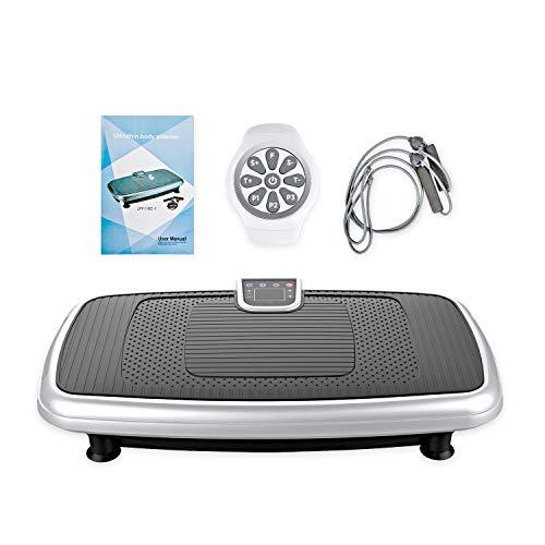 FITRUN Fitness Vibrationsplatte Ganzkörper Trainingsgerät Profi Vibrationsgerät mit Oszillationstechnologie für zu Hause mit 30 Intensitätsstufen, LED Screen&Wirst Fernbedienung